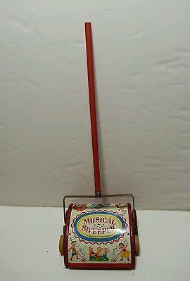 Fisher Price #230 Music Box Sweeper Walking Vintage Wood Metal Push Toy RARE!