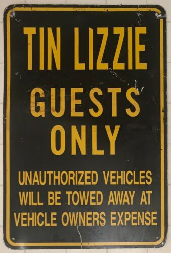 Vintage Metal Tin Lizzie Guests Only Sign - 12x18 - Chicago Sports Pub / Bar