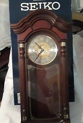 SEIKO WALL PENDULUM CLOCK DARK BROWN OAK CASE