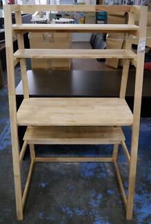 New Scandi Natural Timber Workstation Student Desk Bookcase