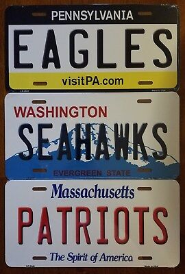 NFL Football Team State Background Metal License Plate