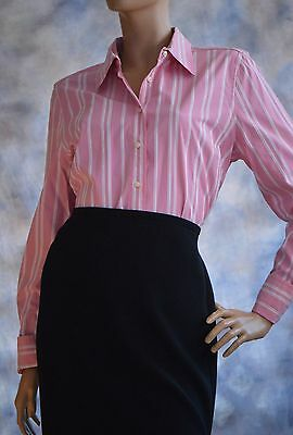 TOMMY HILFIGER Sz Large Pink White Stripe Button Down Blouse Shirt Career Pink