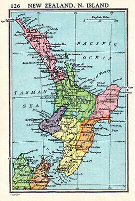 Map Of New Zealand North Island John Bartholomew Vintage 1951
