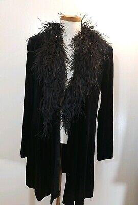 Patra Womens Black Velvet Feather Trim Collar Long Sleeve Cardigan Sz 8 Small Velvet Trim Cardigan