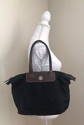 DOONEY & BOURKE Black Nylon Satchel Shoulder Bag Leather Trim