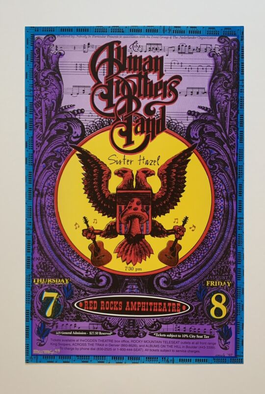 Emek Allman Brothers Band Sister Hazel Original 1997 Concert Poster Signed