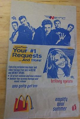 Nsync & Britney Spears McDonalds Brown Paper Bag July 2000 Rare Collectible