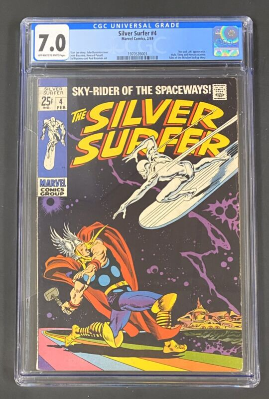 Silver Surfer #4 (Feb 1969, Marvel) CGC 7.0 Classic Surfer vs Thor Cover