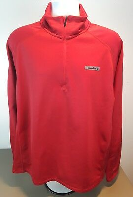 Timberland Men's Long Sleeve 1/4 Zip Red Shirt Top Size Large