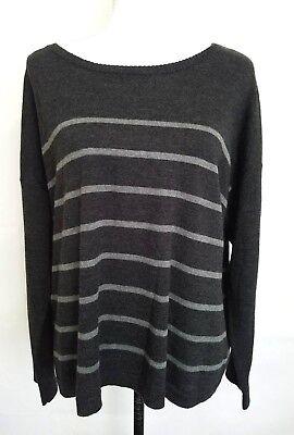 Eileen Fisher Ballet Neck Merino Wool Gray Jersey Striped Box Sweater Size Large (Striped Ballet Neck Sweater)