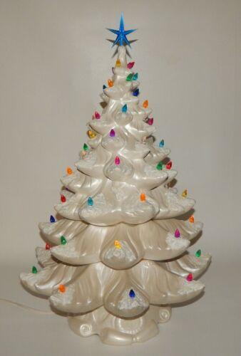 "Vtg Atlantic Mold 26"" Tall White Ceramic Christmas Tree Snow Covered Branches"
