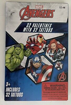 Marvel Avengers Valentines Day Cards 32 Cards 32 Tattoos 8 Heroic Designs NEW