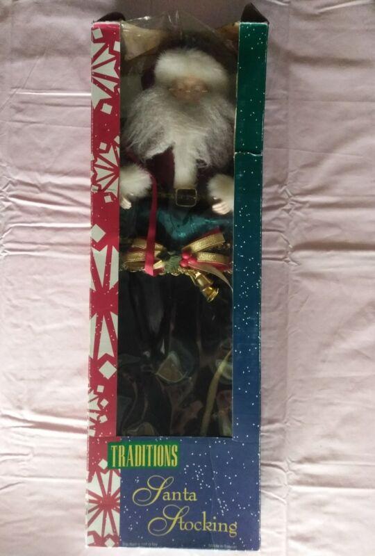"Vtg Traditions Porcelain Santa Stocking New in Box 25"""