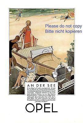 20er Jahre Badeanzug (Opel Cabrio XL Reklame 1929 Strand Bademode Badeanzug Zoberbier 20er Jahre +)