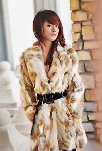 Real 100% Rex Rabbit Fur Raccoon Trim Hood Women Coat Jacket Overcoat Garment