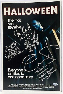 HALLOWEEN Movie Cast Jamie Lee Curtis +4 Signed 12x18 Photo Beckett BAS #F64089](Halloween Cast Jamie)
