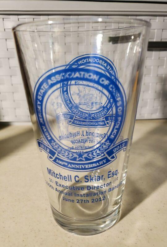Rare 1912- 2012 Association Of Chiefs Of Police Beer Bar Glass NJSACOP Banquet