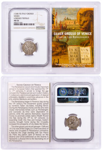 1268-1413 Italy Silver Grosso Venice-Renaissance- NGC AU53 Story Vault SKU50490