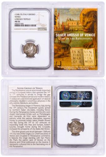 1268-1413 Italy Silver Grosso Venice-Renaissance- NGC AU55 Story Vault SKU50484