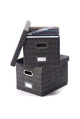 Decorative File Storage Organizer Box Set Of 2 - Portable Home Office Filling