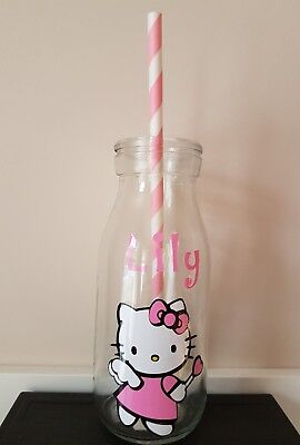 Personalised Hello Kitty Glass Mini Milk Glass Bottle  ANY NAME Party bag gift (Personalized Glass Milk Bottles)