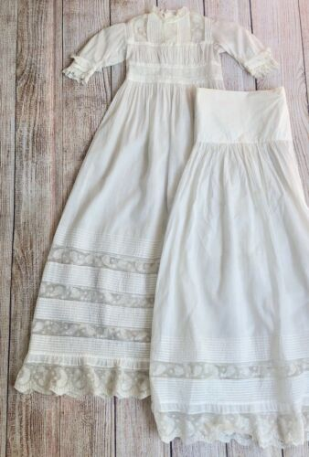 Antique White Lawn Pin Tuck Shooting Star Net Lace Christening Gown with Skirt