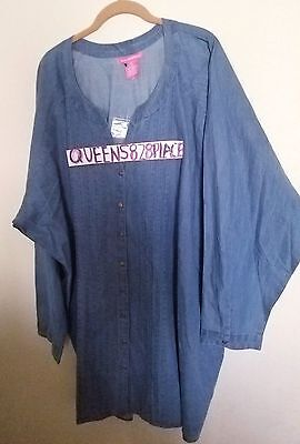 New Woman Within Plus Size 5X Chambray Tunic Top Button Down Denim Shirt Long S