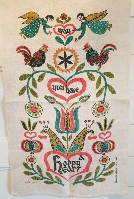 Vintage Linen Wall Hanging MCM Boho Scandinavian Angels Botanical Roosters EUC