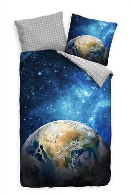 Erde Bettbezug Set (Erde Weltall Milchstraáe Bettwäsche Set 135x200 cm + 80x80cm  Atmungsaktiv )