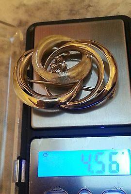 Gold brosche mit 3 Diamanten 585