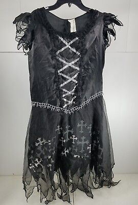 Pre Halloween (Pre Owned Womens Halloween Costume Sexy Goth Witch Vampire Black Size M 8 -10 T2)