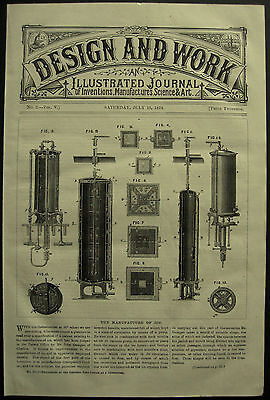 1878 Invention Machine Manufacture Of Ice John Gamgee Patent Print Article 2271