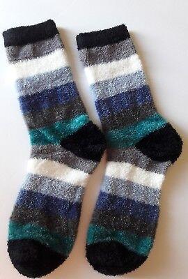 Chenille Womens Socks - NEW Soft & Cozy J. JILL Luxe CHENILLE Crew SOCKS Ocean Blue w/ Multicolor Stripe