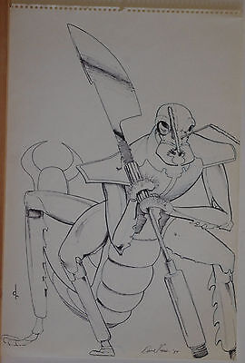 David Ross Original Art  Signed  Insect Warrior 12X18  Sketch  More Art In Store
