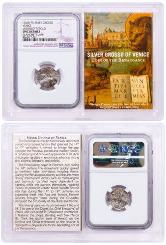 1268-1413 Italy Silver Grosso Venice-Renaissance NGC UNC Story Vault SKU51860