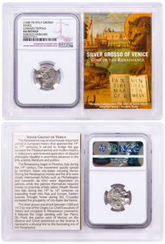 1268-1413 Italy Silver Grosso Venice-Renaissance NGC AU Story Vault SKU51859