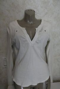Rebecca Beeson Womens Ivory Solid Knit Top Sz 6 Long Sleeve Cotton Blend Shirt
