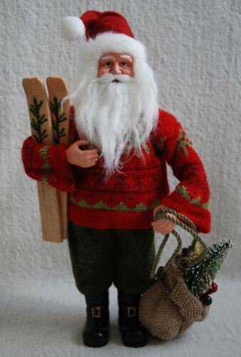 Santa+Ornament+Father+Christmas+Nordic+Red+Green+Outift+with+Ski+%26+Jute+Bag+30cm