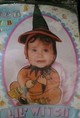 RUBIE'S BABY & TODDLER LITTLE LIL' WITCH  HALLOWEEN COSTUME BONNET & BIB