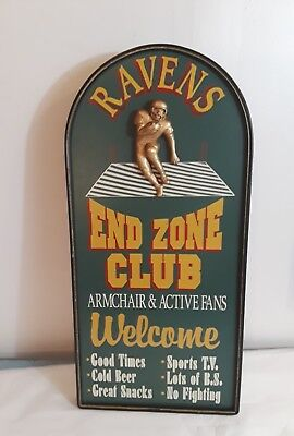 Vintage Baltimore Ravens Football End Zone Club Wooden Sign Team Man Cave Gift (End Zone Club)