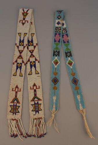 2 Vintage Native American Seed Bead Strips - Figures & Geometrics - Beadwork