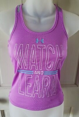 """Under Armour Women's Bigness XS Purple """"Watch And Learn"""" Athletic Wear Top"""