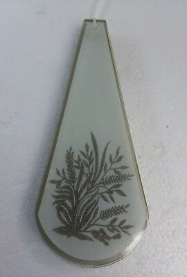Vintage Glass Panel Lamp Green Wheat Leaf White Frosted Textured Mid Century