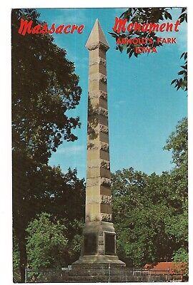 Spirit Lake MASSACRE MONUMENT Arnolds Park IOWA Postcard 1972 Gardner Cabin
