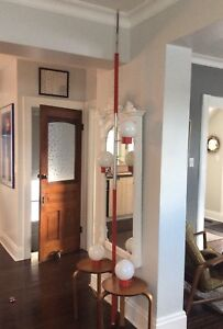 Mid Century Vintage Retro Red Chrome Tension Pole & Table Lamps