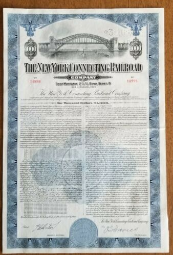 1945 New York Connecting Railroad Bond Stock Certificate
