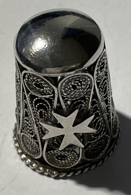 Thimble Ornate Filigree Sterling Silver  Marked 925 With Maltese Cross