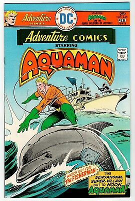 DC: ADVENTURE COMICS #443 Starring Aquaman -Aparo Art - VF/NM 1976 Vintage Comic