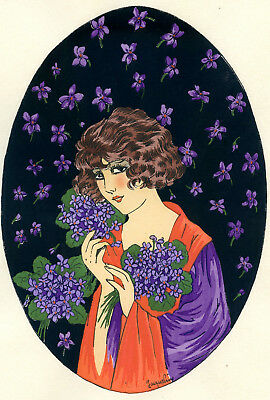 1930s French Pochoir Print Young Flapper Woman Fashion w/ Lilac Jacquelyn (L)