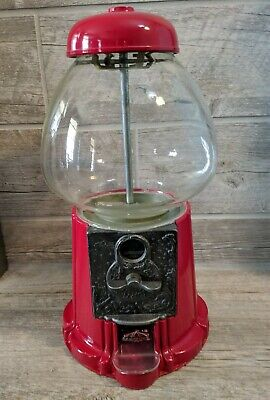 Vintage Carousel Ind Red Gumball Machine Collectible Quarter Dime Nickel Cent